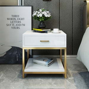 """1-Drawer Nightstand MDF Board Bedside Table 20"""" with Stainless Steel Frame"""