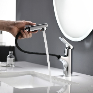 Modern 1-Hole Deck Mount Bathroom Sink Faucet with Pull-Out Spout