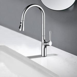 Stylish 1-Hole Deck Mount Kitchen Sink Faucet with Pull-down Spout