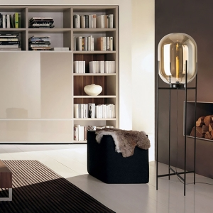 Modern 1-Light Floor Lamp with Glass Shade Metal Base in Black Finish