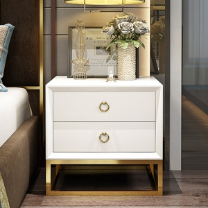 """2-Drawer Nightstand High-density Board Bedside Table 20"""" with Stainless Steel Frame"""