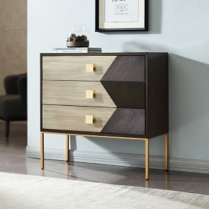 Classic Chest of Drawers with 3-Drawer Storage Cabinet Metal Legs