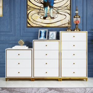 Chest of Drawers High-density Board Cabinet with Stainless Steel Frame