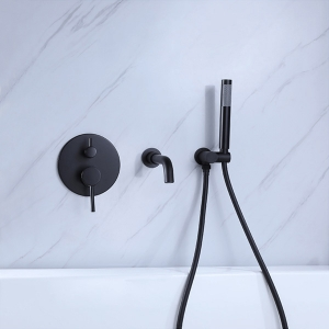 Mixer Faucet Wall Mount 3-Hole for Bathroom Bathtub with 2 Handles