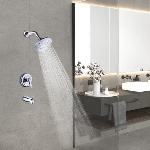 Stylish Wall Mount 3-Hole Concealed Spray Shower System with Bathtub Faucet