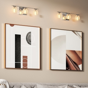 Luxury Wall Sconce Glossy Chrome Vanity Light with Glass Lampshade