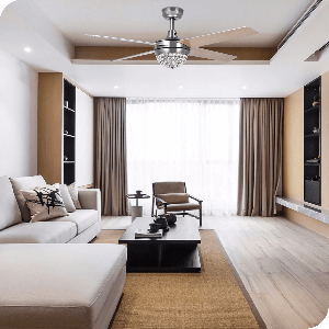 Yitahome Modern 3-Light Remote Control Ceiling Fan Chandelier Light with Crystal Decoration