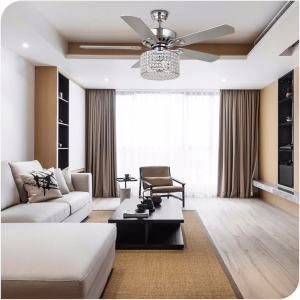 """Yitahome Modern 3-Speed Semi-Flush Mount Ceiling Fan 52"""" with Light Kit Remote Control and Crystal Lampshade"""