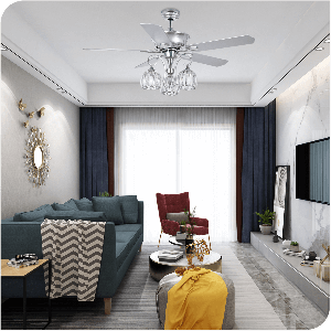 Yitahome Modern 3-Speed Semi-Flush Crystal Ceiling Fan with Light Kit