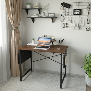 YITAHOME Office Computer Desk Home Office Table with Storage Bag and Hooks