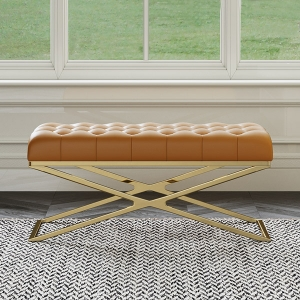 """Post-modern Orange Microfiber Leather Bench 39"""" with X-shaped Gold Stainless Steel Electroplated Frame"""