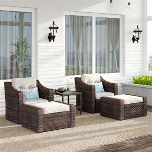 5-Piece Patio Wicker Sofa Set Outdoor Rattan Lounge Chairs Set with Couch Footstools Coffee Table for Backyard Porch Poolside Garden Lawn
