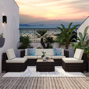 YITAHOME 6-Piece Outdoor Patio Furniture Set Garden Conversation Wicker Sofa Set with Coffee Table and Cushion for Lawn Backyard and Poolside