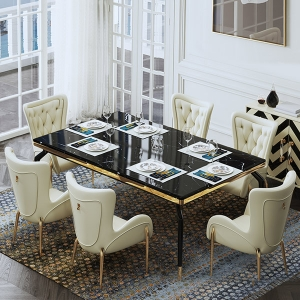 """Post-modern Dining Table with 63"""" Black Marble Solid Metal Legs"""