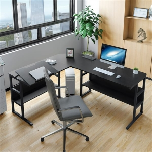 """YITAHOME 67"""" Tiltable L-Shaped Office Computer Desk with Storage Bookshelf"""