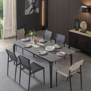 Modern Rectangle High Quality Marble Top Black Metal Legs Dining Table