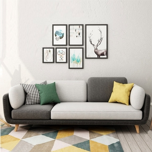 Nordic Fabric Sofa Living Room 4-Seater Black and White Sofa with Solid Wood Legs