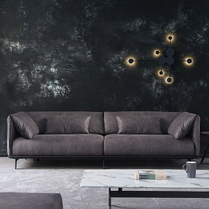 Classic Black Engineered Cloth Carbon Steel Based Padded Arms Sofa