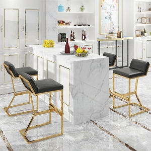Stylish High Foot Design Stainless Steel Pub Bar Stool in 2-Piece Set