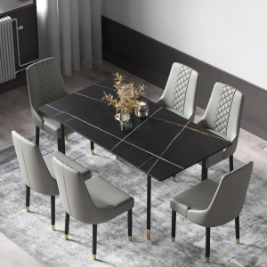 """Contemporary Dining Table with 56"""" Black Marble and Carbon Steel Legs"""