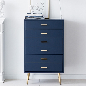 Modern Green Bedroom MDF Boards Chest of Drawers Cabinet with 6 Drawers