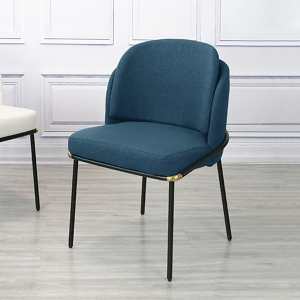 Elegant Blue Dining Chair with Cotton Fabric Seat and Metal Legs