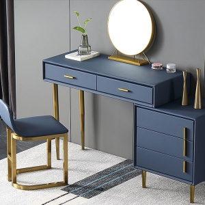 Classic Blue Makeup Vanity Dressing Table with Multiple Storages