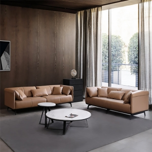 Modern Brown Faux Leather Sponge Upholstered Loveseat Sofa with Pillowed Arms