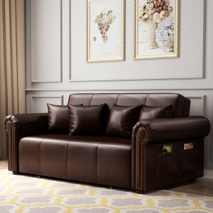 Classic Brown Sofa Bed with Microfiber Convertible Resilient Sleeper Bed