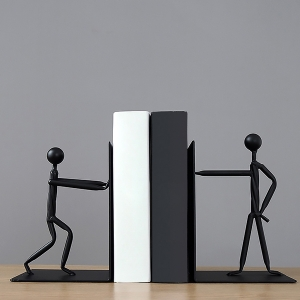 Stylish Artful Suave Bookends Characters Pushing Books Abstract Bookends