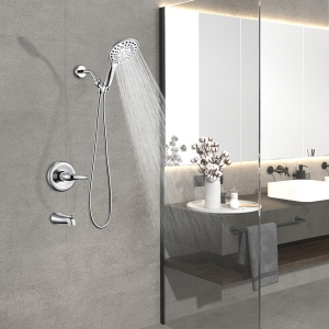 Contemporary 3-Hole Wall Mount Conceal Shower System with 5-Spray functions