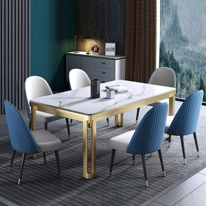 Classic Rectangle Dining Table with Faux Marble Top and Metal Legs