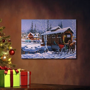 Classic Style Wall Art Village in Christmas Oil Painting Wall Decor