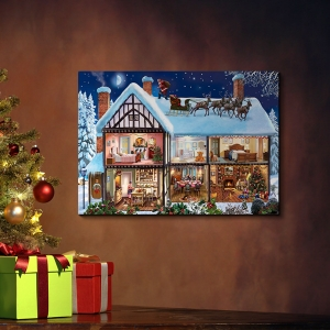 Classic Wall Art Expressionism Oil Painting Christmas House Home Wall Decor