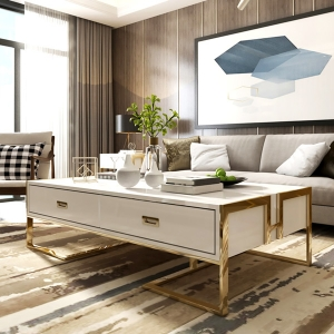 """Splendid Resort Coffee Table Elegant 47"""" Tempered Glass Coffee Table with Stainless Steel Frame"""
