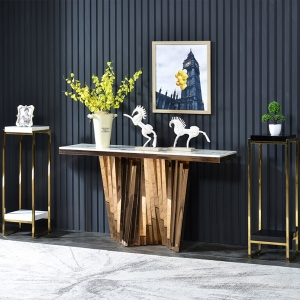 """Modern Console Table Marble Entryway Table 59"""" with Sleek Stainless Steel Base"""