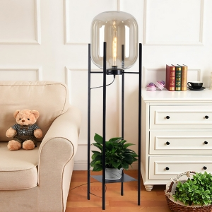 Contemporary 1-Light Floor Lamp with Glass Shade Metal Base in Black
