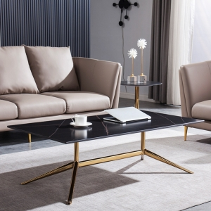 """Contemporary 28"""" Marble Coffee Table with Gold Stainless Steel Electroplated Frame"""