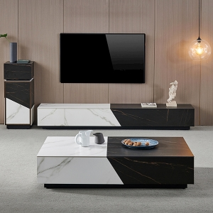 """79"""" Marble TV Stand Media Console Living Room TV Cabinet with Metal Frame"""