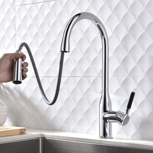 Contemporary Deck Mount 1-Hole Kitchen Sink Faucet with Pull-down Spout in Chrome