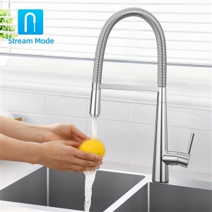 Modern Deck Mount 1-Hole Kitchen Sink Faucet with Pull-down Swivel Spout