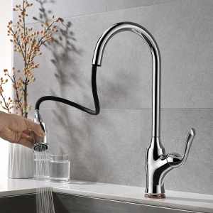 Modern Deck Mount 1-Hole Kitchen Sink Faucet with Pull-down Swivel Spout in Chrome