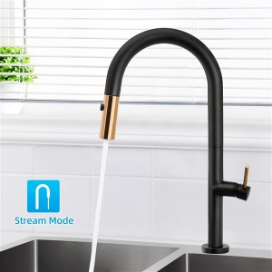Modern Deck Mount 1-Hole Kitchen Sink Touch-On Faucet with Pull-Down Spout