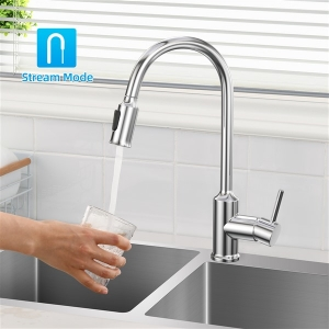 Modern Deck Mount Single-Hole Kitchen Sink Faucet with Pull-down Swivel Spout