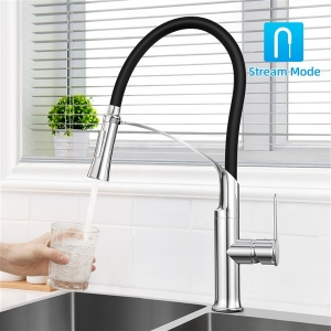 Modern Deck Mount Single-Hole Kitchen Sink Faucet with Pull-out Swivel Spout