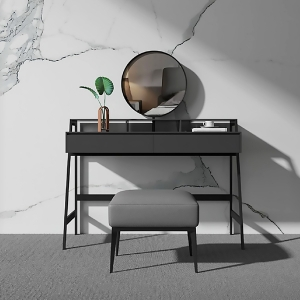 """Modern High-density Boards Makeup Vanity Dressing Table 47"""" with Dressing Mirror and Carbon Steel Frame"""
