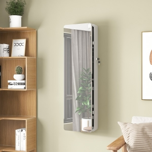 Modern White LED Wall Mounted Makeup Storage Mirror Jewelry Cabinet