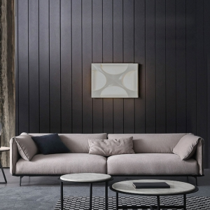 Elegant Fabric Gray Solid Wood Structured Living Room Sofa