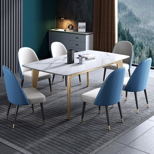 Elegant Rectangle Dining Table with Faux Marble Top and Metal Legs