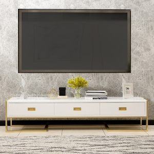 Elegant Tempered Glass TV Stand with Gold Electroplated Titanium Frame